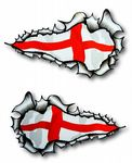 SMALL Long Pair Ripped Metal Design With St Georges Cross England Flag Vinyl Car Sticker 73x41mm